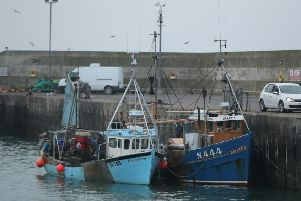 The two Northern Ireland-registered fishing boats seized by the Irish navy moored in the port of Clogherhead in Co Louth. They were released to their owners following a court hearing on Friday. Pic by Niall Carson/PA Wire