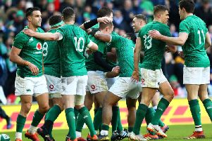 Ireland celebrate a try during the win over France