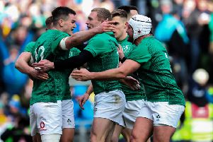 Ireland's Jonathan Sexton celebrates his try with team mates