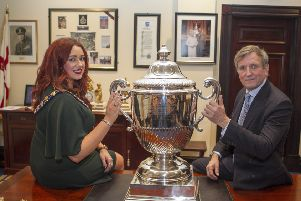 The Right Honourable Christopher Brooke was the special guest of Mayor'Cllr Lindsay Millar as the cup was presented on loan to the council.