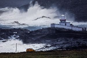 Valentia Island Lighthouse, Cromwells Point, Co. Kerry, during Storm Eleanor in 2018. (Photo: Valerie O'Sullivan)