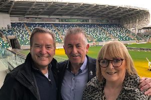 Sky Sports presenter Jeff Stelling with Prostate Cancer UK volunteers Frank McNally and Jackie Dickson in Belfast yesterday