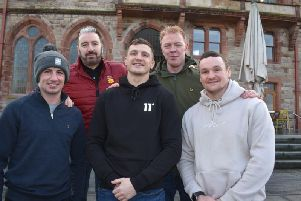 DERRY BID . . . Back row, left to right, Seamus Cunning Derry Boxing Promotions, Cahir Duffy (St Joseph's ABC), front row, Tyrone McCullagh, Connor Coyle and Sean McGlinchey, throw their weight behind the bid to bring professional boxing back to Derry for the first time since 1982.