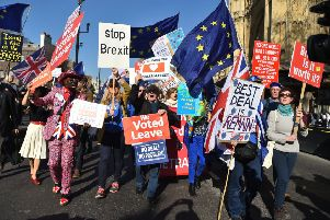 Pro-Brexit and anti-Brexit demonstrators at Westminster, London. Pic by: Kirsty O'Connor/PA Wire