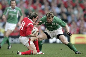 2005 - Wales v Ireland, Cardiff: 'Ireland's Brian O'Driscoll with Shane Williams of Wales
