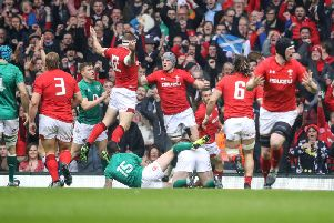 Wales celebrate Hadleigh Parkes try against Ireland