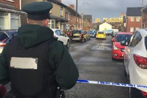 Police at the scene in east Belfast where Reece Leeman died from stab wounds
