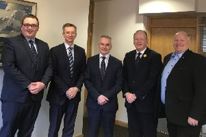 Chris Conway (centre), CEO of Translink, with DUP representatives Marc Collins,  Ald Brian Kingston, William Humphrey MLA and David Hilditch MLA.
