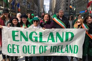 Sinn Fein leader Mary Lou McDonald (centre) with Irish republican supporters at the New York St Patrick's Day parade