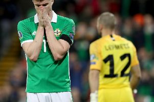 Northern Ireland's Paddy McNair after missing his chance in the first half