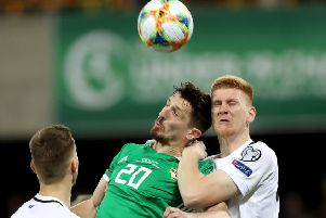 Craig Cathcart competing against Estonia. Pic by PressEye Ltd.