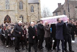 Press Eye Belfast - Northern Ireland 22nd March 2019  Funeral of 17-year-old Lauren Bullock at St Patrick's Church in DDonaghmore, Co. Tyrone.  Lauren died along with Morgan Barnard(17) and 16-year-old Connor Currie after an incident at the Greenvale Hotel in Cookstown on St Patrick's night.   Picture by Jonathan Porter/PressEye.com