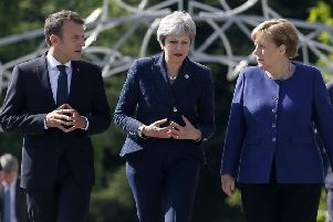 """French president, Emmanuel Macron, British prime minister, Theresa May, and German chancellor, Angela Merkel, in Bulgaria last year: """"Northern Ireland could be explained to France and Germany like Alsace Lorraine"""""""