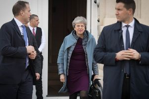 Prime Minister Theresa May leaves the British Residence in Brussels to return to the UK without attending the second day of the EU Council Summit on Friday March 22, 2019. Photo: Stefan Rousseau/PA Wire