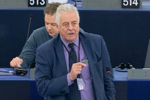 Jim Nicholson speaking in the plenary session at the European Parliament in Strasbourg on Wednesday March 27 2019, perhaps the last time UK MEPs will speak in the chamber