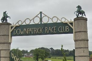 The statues were stolen from two pillars at the entrance to Downpatrick Racecourse. Image taken from Google StreetView
