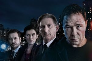 Detective Sergeant Steve Arnott (MARTIN COMPSTON), Detective Sergeant Kate Fleming (VICKY McCLURE) , Superintendent Ted Hastings (ADRIAN DUNBAR), Corbett (STEPHEN GRAHAM). Photo copyright World Productions. Photographer: Aidan Monaghan