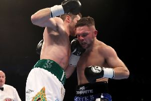 Luke Keeler (left) and Conrad Cummings did battle for a second time in the Ulster Hall on Friday night