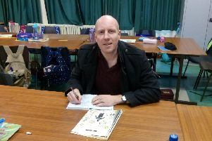Graeme Cousins goes back to school at King's Park Primary School where he was a pupil between 1982 and 1989