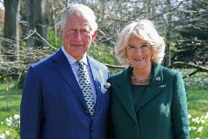 The Prince of Wales and the Duchess of Cornwall during a tour of the Visitor Centre and the Walled Garden at the reopening of Hillsborough Castle and gardens