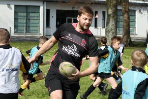 Ulster's Iain Henderson during a Kingspan Coaching Masterclass at Edenderry Primary School Portadown