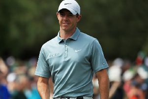 Rory McIlroy during a practice round at Augusta. Pic by Getty Images.