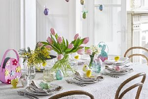 Undated Handout Photo of Create A Stunning Centrepiece  Spotty/Floral Egg Hanging Decorations, �1.49 each; Felt Flower Egg Basket, �4.99; Chick Egg Cup, �4.99; Bunny Head Egg Cup, �4.99; Wax Egg Candles, �2.99; Coloured Chenille Chicks, �3.99; Felt Bunny Egg Basket, �2.99, Dobbies. See PA Feature INTERIORS Easter. Picture credit should read: Dobbies/PA Photo/Handout. WARNING: This picture must only be used to accompany PA Feature INTERIORS Easter. WARNING: This picture must only be used with the full product information as stated above.