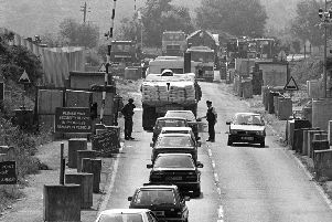 Vehicles being examined at Kileen checkpoint at the RoI-NI border, 1992