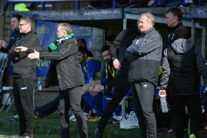 Mick McDermott and Paul Millar on the sideline during last week's win over Dungannon Swifts