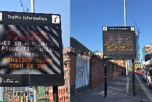 Photos taken with permission from the Twitter page of @AdrianBentley and @DanTheCool of traffic information signs on Rochdale Road in Manchester.