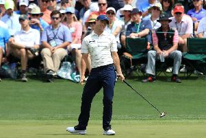Rory McIlroy reacts on the second hole during the second round of the Masters at Augusta
