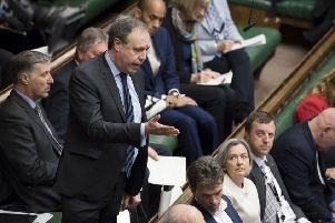 Nigel Dodds responds after Prime Minister Theresa May gave her statement in the House of Commons, London on the latest situation with Brexit on Thursday April 11. He was one of several senior DUP figures to make fiercely critical comments about Mrs May last week. Photo: UK Parliament/Jessica Taylor /PA Wire