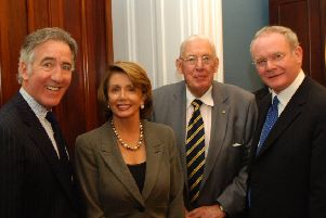 In 2007, Northern Ireland First Minister Ian Paisley and Deputy First Minister Martin McGuinness with Speaker of the US House of Representatives Nancy Pelosi and US Congressman Ritchie Neill at the Friends of Ireland Lunch hosted by US Congressmen in the Capitol Building,Washington DC. Photo John Harrison.