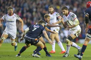 Ulster captain Iain Henderson on the charge against Edinburgh