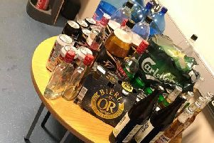 The alcohol confiscated by PSNI