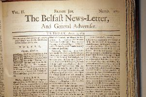 Front page of April 3 1739 Belfast News Letter (April 14 1739 in the modern calendar)