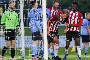 Greg Sloggett opts for a muted celebration after scoring his first Derry City goal against his former club, UCD.