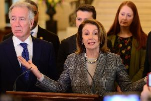 Congressman Richard Neal and Congresswoman Nancy Pelosi answered only three questions at Stormont on Friday, above. None of them were difficult questions relating to how the previous hard border was caused by terrorism
