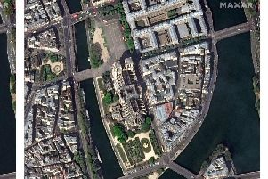 Satellite view of the ruins of Notre Dame