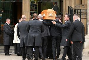 Lyra McKee's coffin is carried into St Anne's Cathedral. Pic: Press Eye