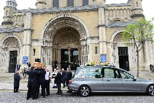 Lyra McKee's coffin arrives at St Anne's Cathedral, Belfast. Pic: Pacemaker