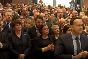 Arlene Foster and Mary Lou McDonald, centre left and centre right, at St Anne's Cathedral for Lyra McKee's funeral, during the awkward moment just after Father Magill criticised politicians and got a standing ovation