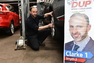 Andrew Clarke pictured in his family business, Clarke's Tyres, in Larne. Pic: Colm Lenaghan/Pacemaker