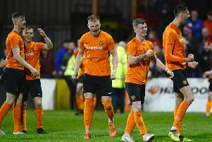 Celebration time for Carrick Rangers on Tuesday against Portadown.