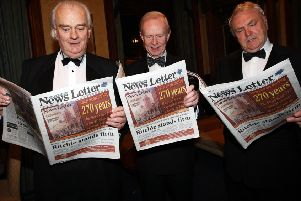 Eoghan Harris, right, with the late Lord Laird, left, and then UUP leader Sir Reg Empey, centre, read a 270th anniversary News Letter at the Reform Club in 2007, the night Mr Harris called on the UUP to form a single party with the DUP