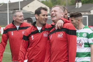 Celtic players share a joke as they leave the pitch during Sunday's Ryan McBride Soccer Sixes.