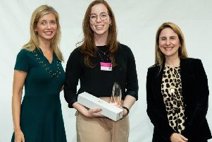 (L-R): Rachel Riley, awards host; Judith Cameron from Queen's University Belfast, UK Female Undergraduate of the Year and Maria Kokkinou, global head of Talent, Leadership and Capabilities, Rolls-Royce.