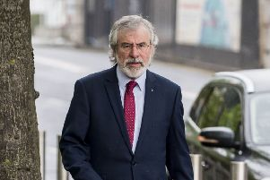 Former Sinn Fein President Gerry Adams arriving at Belfast Laganside courts to give evidence to the Ballymurphy inquest. '''Picture by Jonathan Porter/PressEye.