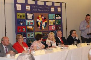 South East Fermanagh Foundation event panel (from left)  Jim Allister, Dolores Kelly, Diane Dodds, Dr Maire Braniff (chair), Danny Kennedy and Stephen Farry. Standing: SEFF director Kenny Donaldson