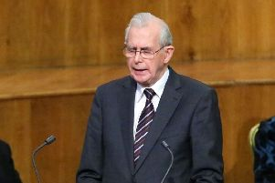 The Rev James Beggs taking part in the late Ian Paisley's memorial service in the Ulster Hall